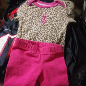 Juicy couture leopard print onesie and pink pants